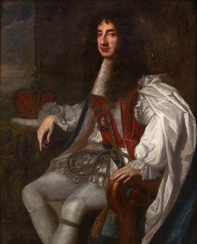 After Sir Peter Lely A portrait of Charles II wearing robes of the Order of the Garter 49 1/2 x 40in