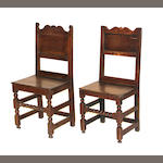 An assembled pair of Louis XIV oak and elm chairs early 18th century