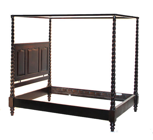 A Baroque style mixed wood bed Argentina<BR />20th century