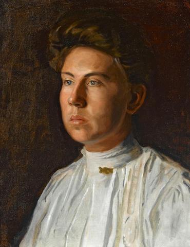 Thomas Eakins (American, 1844-1916) Portrait of Rebecca MacDowell (Mrs. J. Randolph Garrett), circa 1908 20 1/4 x 16in