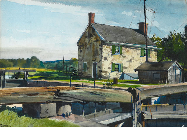 Ogden Pleissner, The lock house, wc
