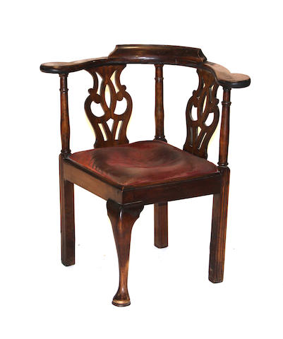 A George III mahogany cornerchair  third quarter 18th century