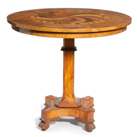 A Continental burl elm and specimen wood center table