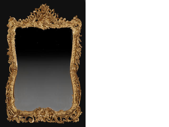 A fine and large Louis XV style giltwood mirror<BR />fourth quarter 19th century
