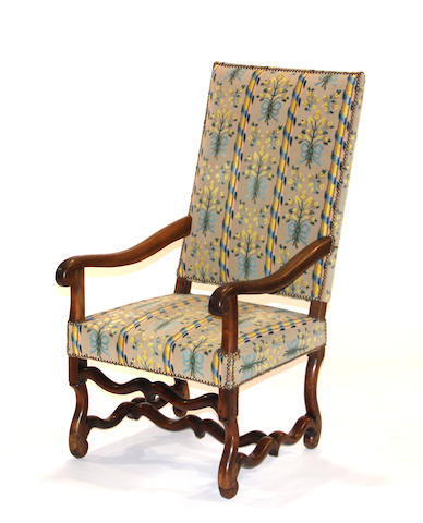 A Louis XIV walnut os de mouton fauteuil  late 17th/early 18th century