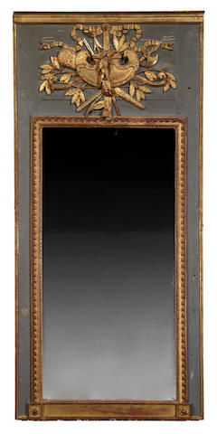 A Louis XVI painted and parcel gilt trumeau mirror<BR />fourth quarter 18th century