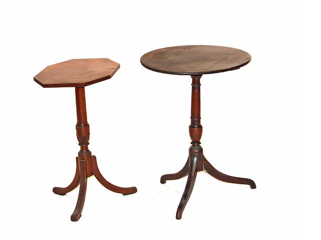 A George III mahogany candlestand together with a Federal cherry candlestand late 18th/early 19th century