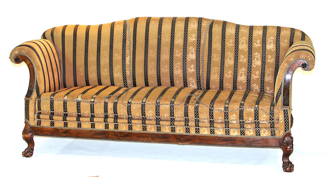 A George III style mahogany upholstered sofa