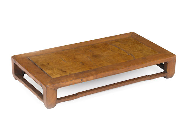 A burlwood paneled low table 20th century