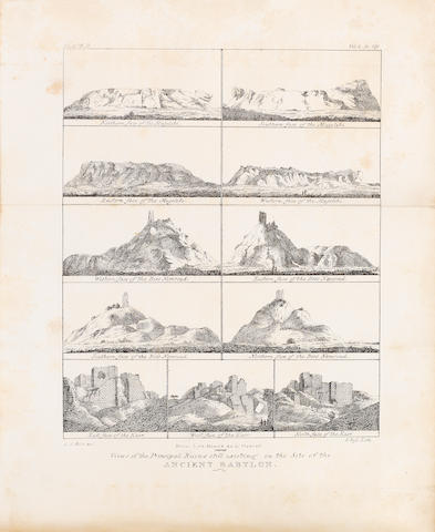BUCKINGHAM, JAMES SILK. 1786-1855. Travels in Mesopotamia. Including a Journey from Alleppo to Bagdad ... with Researches on the Ruins of Nineveh, Babylon, and Other Ancient Cities. London: Henry Colburn, 1827.