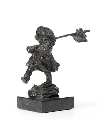 A patinated bronze figure of a young girl: Follow the Leader <BR />after a model by Charles (Karl) Korschann (Czechoslovakian/French, 1872-1943)<BR />20th century