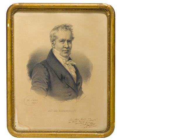 HUMBOLDT, ALEXANDER VON. 1769-1859. Lithographed plate Signed and Inscribed, being a portrait