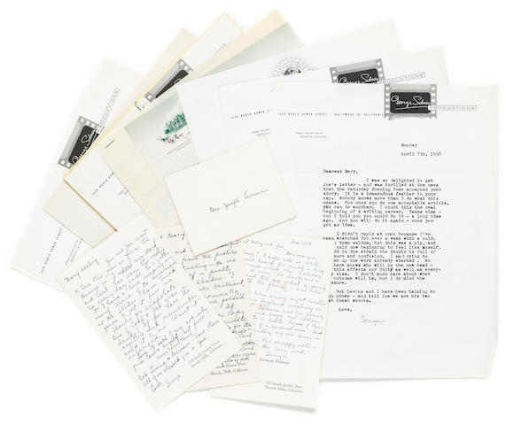 "LEVIEN, SONYA. 1888-1960. A large archive of correspondence related to the Russian-American screenwriter Sonya Levien, including approximately 50 Typed Letters Signed and 9 Autograph Letters Signed (""Sonya""), approximately 75 pp, 12mo to 8vo, mostly Los Angeles, 1949-58,"