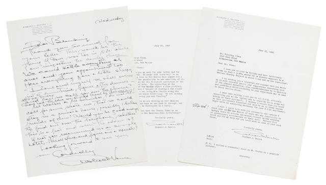 "[ARCHITECTURE.] NEUTRA, RICHARD. 1892-1970. 2 Typed Letters Signed and 1 Autograph Letter Signed (""Richard Neutra""), 3 pp, 4to, Los Angeles, June-July 1940,"