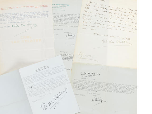 """VAN VECHTEN, CARL. 1880-1964. 4 Typed Letters Signed and 1 Autograph Letter Signed (""""Carl Van Vechten,"""" """"Carlo Van Vechten,"""" """"Carlo,"""" """"Carlo Patriarch""""), 5 pp, New York, 1922-1961,"""