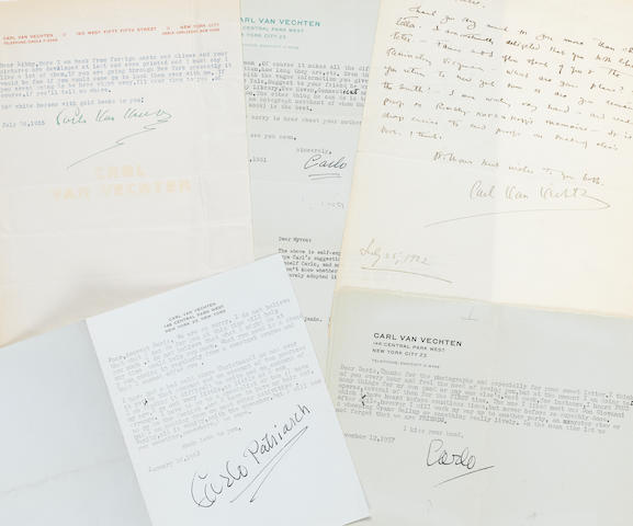 "VAN VECHTEN, CARL. 1880-1964. 4 Typed Letters Signed and 1 Autograph Letter Signed (""Carl Van Vechten,"" ""Carlo Van Vechten,"" ""Carlo,"" ""Carlo Patriarch""), 5 pp, New York, 1922-1961,"