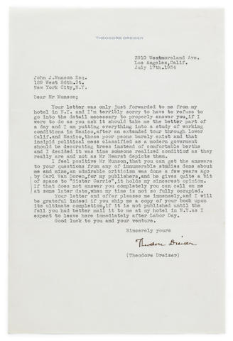 "DREISER, THEODORE. 1871-1945. Typed Letter Signed (""Theodore Dreiser""), 1 p, 4to, Los Angeles, CA, July 17, 1934,"