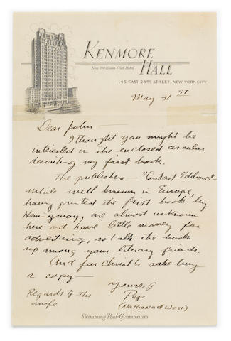 "WEST, NATHANAEL. 1903-1940. Autograph Letter Signed (""Pep"" and ""Nathanael West""), 1 p, 8vo, May 31, [c.1931], to ""John,"""