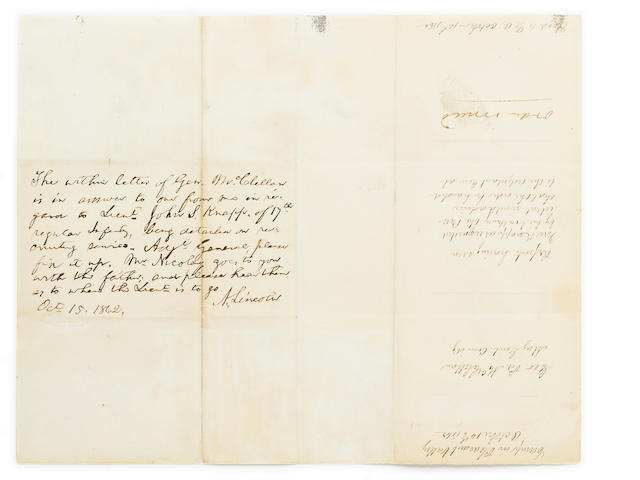 LINCOLN, ABRAHAM. 9 line endorsement. Oct 15, 1862. McClellan.