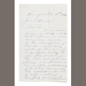 "[TECHNOLOGY.] LOWE, THADDEUS SOBIESKI COULINCOURT. 1832-1913.  Autograph Letter Signed (""T.S.C. Lowe""), 1 p on bifolium, 8vo, New York, December 30, 1867,"