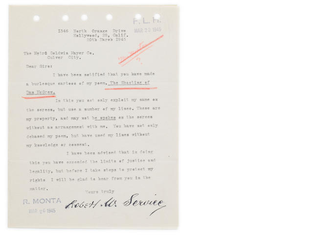 "SERVICE, ROBERT W. 1874-1958. Typed Letter Signed (""Robert W. Service""), 1 p, 8vo, Hollywood, CA, March 20, 1945,"