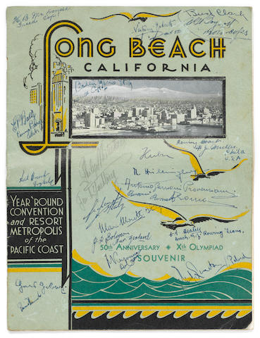 OLYMPICS—ROWING, 1932. A souvenir program from the Xth Olympiad held in Los Angeles, California, 1932, 4to, original illustrated wrappers, signed by several dozen rowers participating in the games.