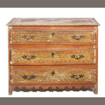 A Spanish Baroque paint decorated mixed wood chest