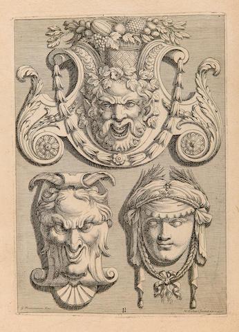 CHARMETON, GEORGES. 1623-1674. Desseins de Plafonds, inventés par le sieur Charmeton. WITH: Ornemens dessinés par G. Charmeton et gravés par Robert. — Divers ornemens pour servir à toutes sortes d'artisans, par les mêmes. — Ornemens de Charmeton, gravés par Audran. — Plusieurs suites d'ornemens, comme panneux ou montans... — 5 further suites. Paris: Girard Audran, [1676].