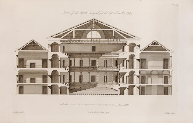 LEWIS, JAMES. 1751-1820. Original designs in Architecture; consisting of Plans, Elevations, and Sections for Villas, Mansions, Town-Houses, &c. and a New Design for a Theatre. London: printed for the Author by Cooper and Graham, 1797.<BR />