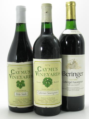 Beringer Cabernet Sauvignon 1979 (6)<BR />Caymus Cabernet Sauvignon 1974 (1)<BR />Caymus Cabernet Sauvignon 1988 (2)<BR />Caymus Petite Sirah 1975 (1)<BR />Caymus Pinot Noir 1976 (1)<BR />Caymus Zinfandel 1977 (1)