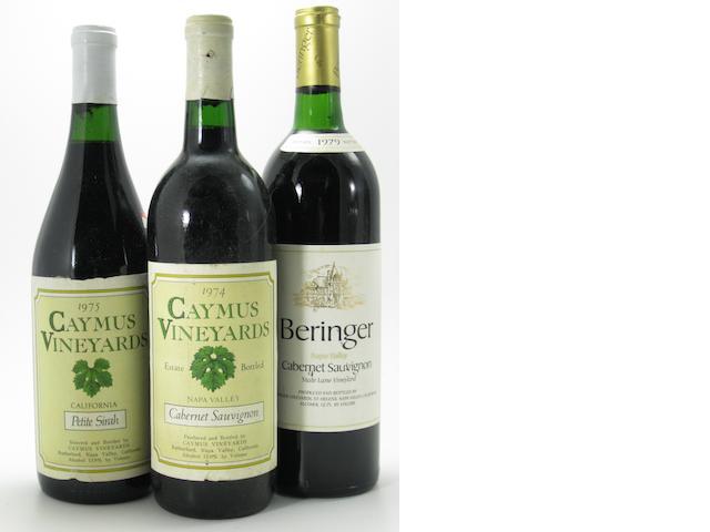 Beringer Cabernet Sauvignon 1979 (6)<BR />Caymus Cabernet Sauvignon 1974 (1)<BR />Caymus Cabernet Sauvignon 1988 (2)<BR />Caymus Petite Sirah 1975 (1)<BR />Caymus Pinot Noir 1976 (1)<BR />Caymus Zinfandel 1977 (1)