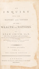 SMITH, ADAM. 1723-1790. An Inquiry into the Nature and Causes of the Wealth of Nations. London: A. Strahan and T. Cadell, 1786.