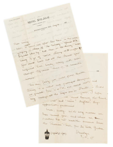"HEMINGWAY, ERNEST. 1899-1961. Autograph Letter Signed (""E."" followed by ""K.K.""), 3 pp recto and verso, 4to, Ste-Julie Station, Quebec, August 16, n.y. [1920s],"