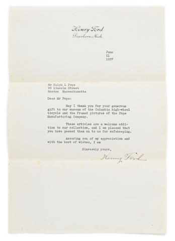 "FORD, HENRY. 1863-1947. Typed Letter Signed (""Henry Ford""), 1 p, 8vo, Dearborn, Michigan, June 21, 1937,"