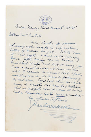 "DICKENS, CHARLES. 1812-1870. Autograph Letter Signed (""Charles Dickens""), 1 p (with integral blank), 8vo, Boston, March 3, 1868,"