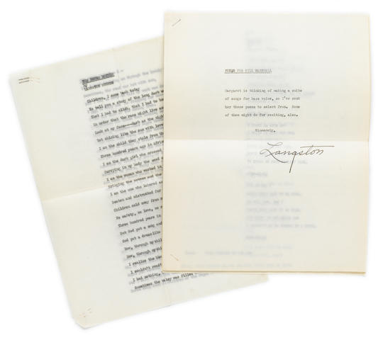 "HUGHES, LANGSTON. 1902-1967. Typed manuscript and typescript carbons with coversheet signed (""Langston""), 21 pp, c.1952, 4to, fold at center, a few minor wrinkles, with original transmittal envelope."