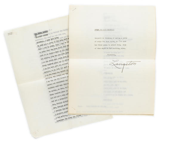 "HUGHES, LANGSTON. 1902-1967. Typed manuscript and typescript carbons with coversheet signed (""Langston""), 21 pp, ca. 1952, 4to, folding crease at center, a few minor wrinkles, with original transmittal envelope."