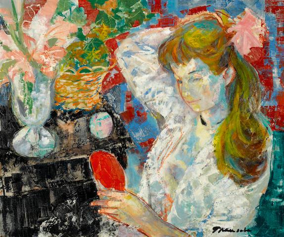 Emilio Grau Sala (Spanish, 1911-1975) Femme au miroir 21 7/16 x 25 13/16in. (54.5 x 65.5cm)