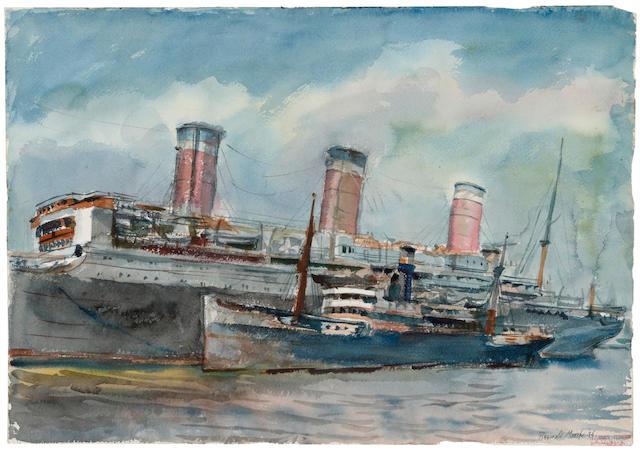 """Reginald Marsh """"Ocean Liner"""" watercolor, unframed"""