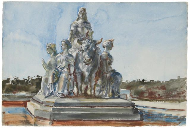 "Reginald Marsh ""Study of Sculptural Group"" watercolor, unframed"