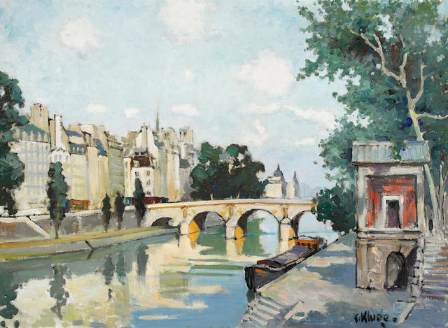 Constantin Kluge (French, 1912-2003) L'Île Saint Louis 28 15/16 x 39 9/16in. (73.5 x 100.5cm)