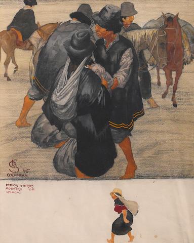 Carl Folke Sahlin (Swedish/American, 1884-1972) Indios Tierra 22 1/4 x 17 3/4in