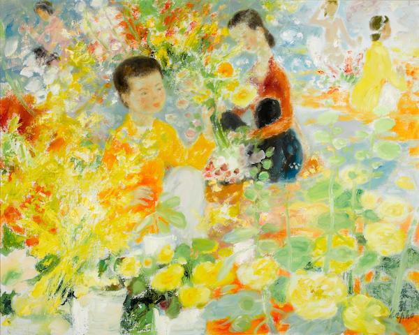Le Pho (Vietnamese/French, 1907-2001) Le marché aux fleurs 28 15/16 x 36 1/4in. (73.5 x 92cm)