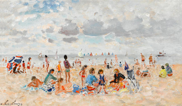 Attributed to André Hambourg (French, 1909-1999) Sur la plage en été 10 11/16 x 18 5/16in. (27.2 x 46.5cm)