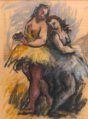 Hans Burkhardt (Swiss/American, 1904-1994) Two Ballerinas, 1943 23 1/2 x 17 1/2in