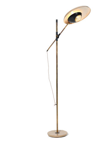 Oscar Torlasco for Lumi An Adjustable Floor Lamp circa 1955  enamelled metal, brass and glass  Height of stand: 61 7/16 in. 156 cm.