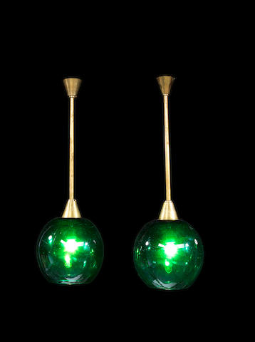 Murano A Pair of Ceiling Lights circa 1960  green glass and gilt metal  Height: 31 1/8 in. 79 cm.