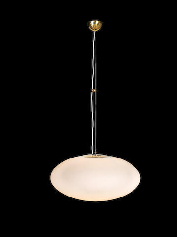 Stilnovo A Ceiling Light circa 1960  opaque glass and brass  Height of shade: 14 3/16 in. 36 cm.
