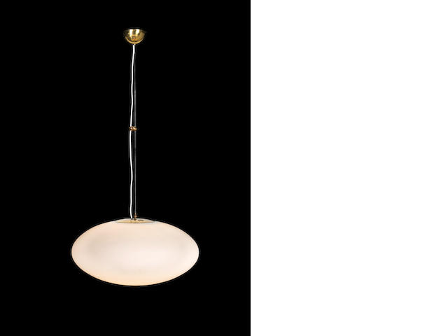 An opaque glass ovoid ceiling light Stilnovo, Italy c 1960