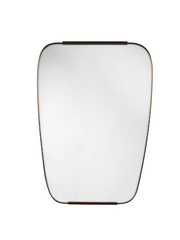 A Wall Mirror Italian, circa 1940  mirror glass and bronzed metal  Height: 38 3/16 in. 97 cm.